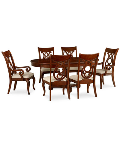 bordeaux 7 piece round dining room furniture set table 4 side chairs