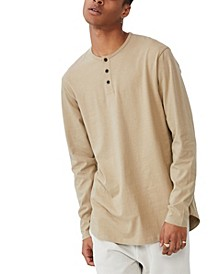 Men's Longline Scoop Henley Long Sleeve T-shirt