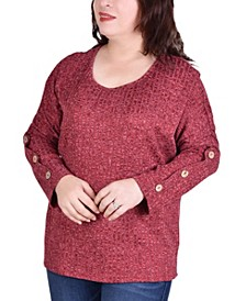 Women's Plus Size Long Sleeve Ribbed Pullover Top