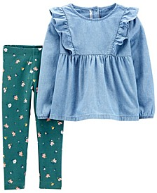 Baby Girls 2-Piece Chambray Top and Floral Legging Set