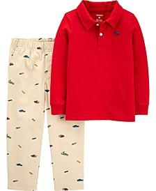 Baby Boys 2-Piece Slub Polo and Canvas Pant Set