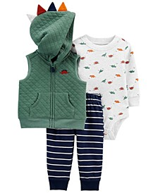 Baby Boys 3-Piece Dinosaur Little Vest Set