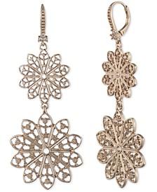 Gold-Tone Filigree Double Drop Earrings