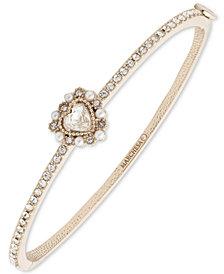 Marchesa Gold-Tone Crystal Heart Bangle Bracelet