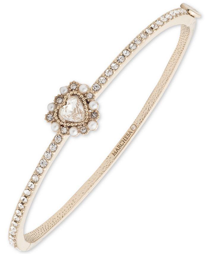 Marchesa - Gold-Tone Crystal Heart Bangle Bracelet