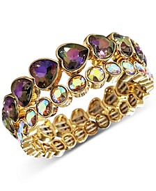 INC Gold-Tone 2-Pc. Set Stone Heart Stretch Bracelets, Created for Macy's