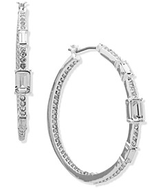 Silver-Tone Medium Pavé & Baguette-Crystal Hoop Earrings, 1.58""