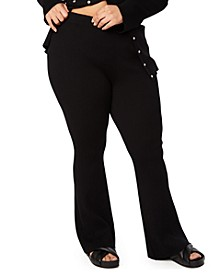 Trendy Plus Size Ribbed Flare-Leg Pants, Created for Macy's