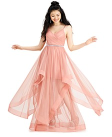 Juniors' Tulle Belted Gown, Created for Macy's