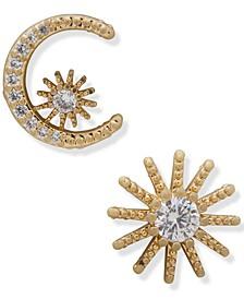 Gold-Tone Crystal Moon & Star Mismatch Stud Earrings
