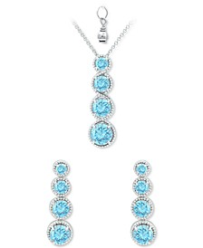 2-Pc. Set Blue Topaz Graduated Pendant Necklace & Matching Stud Earrings Set (4-7/8 ct. t.w.) in Sterling Silver (Also in Amethyst, Rhodolite Garnet, Peridot & Multi-Stone)