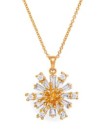 Cubic Zirconia Flower Pendant Necklace in Fine Gold Plated