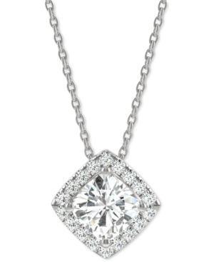 """Moissanite Halo 18"""" Pendant Necklace (1-1/4 ct. t.w. Dew) in 14k White Gold"""