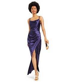 Juniors' Cowlneck Satin Slim Gown