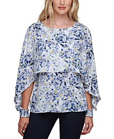 Floral-Print Cape-Overlay Top