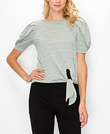 Women's Jacquard Knit Front Tie Pleat Top