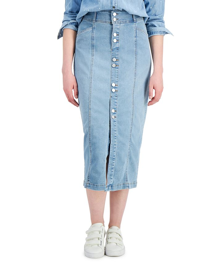 Style & Co - Button-Front Denim Skirt