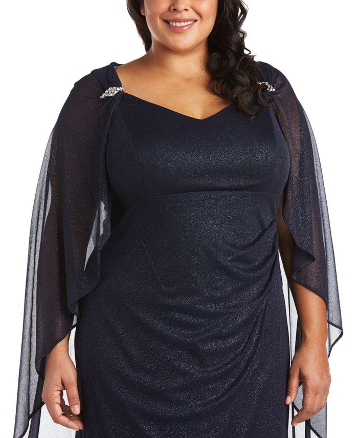 R & M Richards Plus Size Empire-Waist Cape Gown  & Reviews - Dresses - Plus Sizes - Macy's