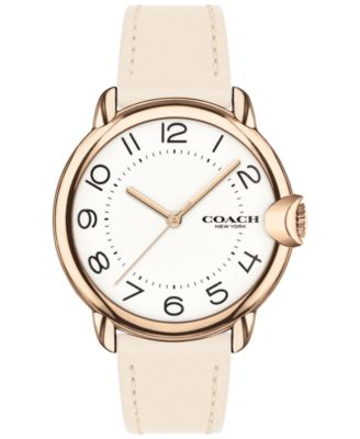 코치 여성 손목 시계 COACH Womens Arden Chalk Leather Strap Watch 36mm