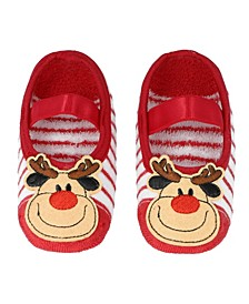 Toddler Boys and Girls Anti-Slip Socks with Reindeer Applique