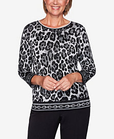 Women's Plus Size Classics Animal Jacquard Sweater