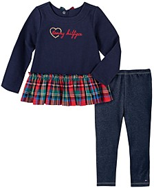 Little Girls 2 Piece Knit with Plaid Tunic and Faux Knit Denim Legging Set