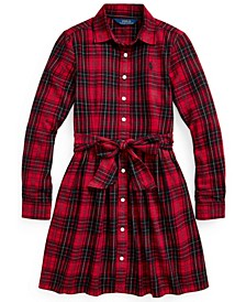 Big Girls Plaid Cotton Twill Shirt Dress