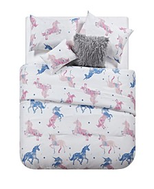 Unicorn Kids 4 Piece Comforter Set, Full