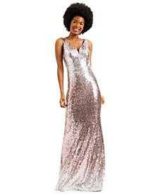Juniors' Ombré Sequin Gown