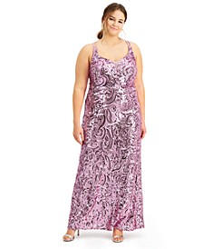 Trendy Plus Size Sequin Strappy-Back Gown