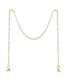 "Gold Flash Plated Paperclip Link 27"" Glasses or Face Mask Chain"