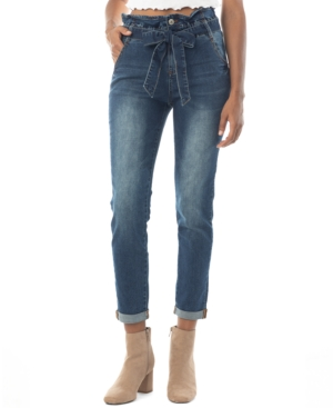 Crave Fame Juniors' Cuffed Paperbag-Waist Jeans