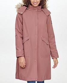 Faux-Fur-Trim Hooded Walker Coat