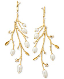 Gold-Tone Pavé & Freshwater Pearl (3.5x4mm-10x7mm) Branch Statement Earrings