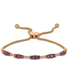 Amethyst (7/8 ct. t.w.) & Nude Diamond (1/10 ct. t.w.) Bolo Bracelet in 14k Rose Gold