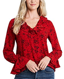 Floral-Print Ruffled Blouse