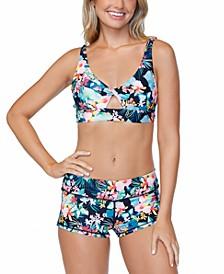 Juniors' Coconut Grove Printed Twist-Front Bikini Top & Surf Shorts