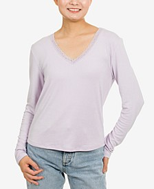 Juniors' Lace-Trim V-Neck Top