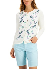Embroidered-Floral Cardigan, Created for Macy's