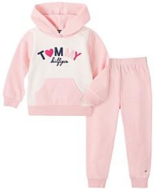 Little Girls 2 Piece Hooded Fleece Top and Pant Set