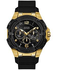 Men's Black Silicone Strap Watch 51mm