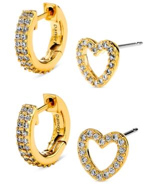 2-Pc. Set Pave Heart Stud & Huggie Hoop Earrings