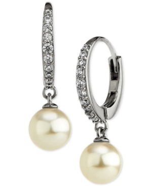 Cubic Zirconia & Imitation Pearl Drop Earrings