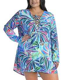 Plus Size Palm Lace-Up Tunic Cover-Up