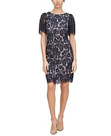 Petite Puff-Sleeve Lace Sheath Dress