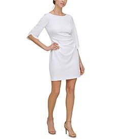 Petite Beaded-Sleeve Sheath Dress