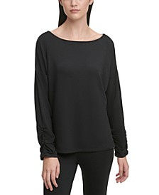 Boat-Neck Ruched-Cuff Top