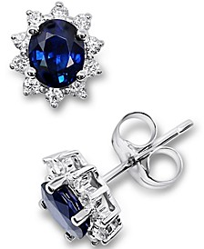 Sapphire (7/8 ct. t.w.) & Diamond (1/5 ct. t.w.) Stud Earrings in 14k White Gold