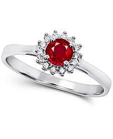 Certified Ruby (1/2 ct. t.w.) & Diamond (1/10 ct. t.w.) Ring in 14k White Gold