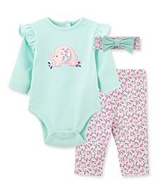 Baby Girls Elephant Bodysuit Pant Set
